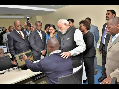 PM Narendra Modi interacts with students at CITD in Mozambique.