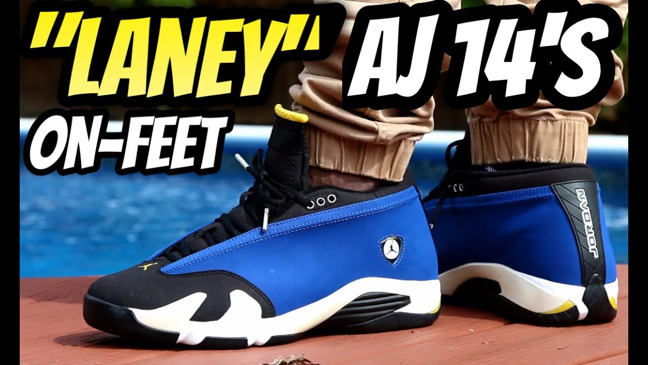 air jordan 14 laney on feet