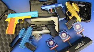 Box of Toy Gun ! Colored toy guns - Electronic Target Toys for Kids