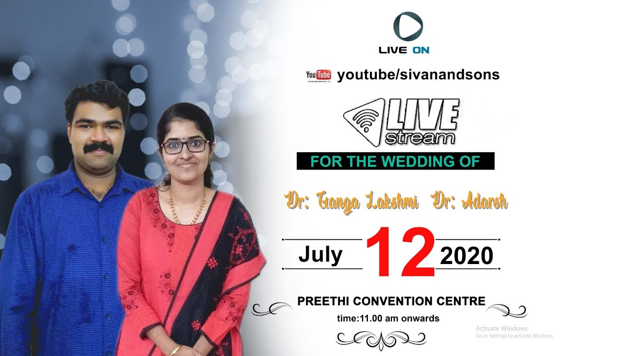 Dr. Gangalakshmi + Dr. Adarsh | Wedding Live Streaming | Sivan and Sons Photography
