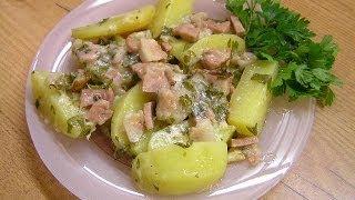 Картофель с сыром и салом по-домашнему - видео рецепт