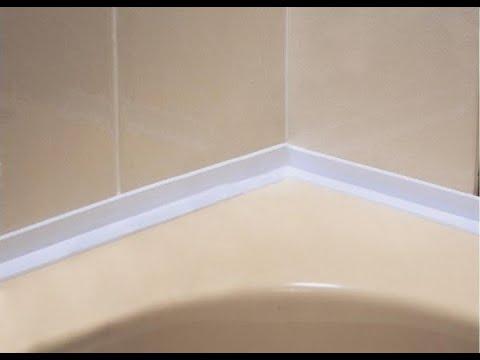 Клеим бордюр между ванной и стеной