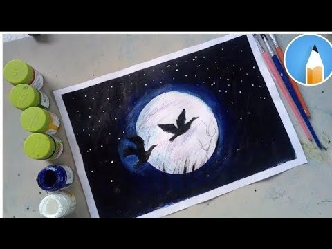How to paint a moonlight night with poster colour | Very easy | Acrylic painting