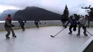 ice hockey players of hc davos training on glice synthetic ice
