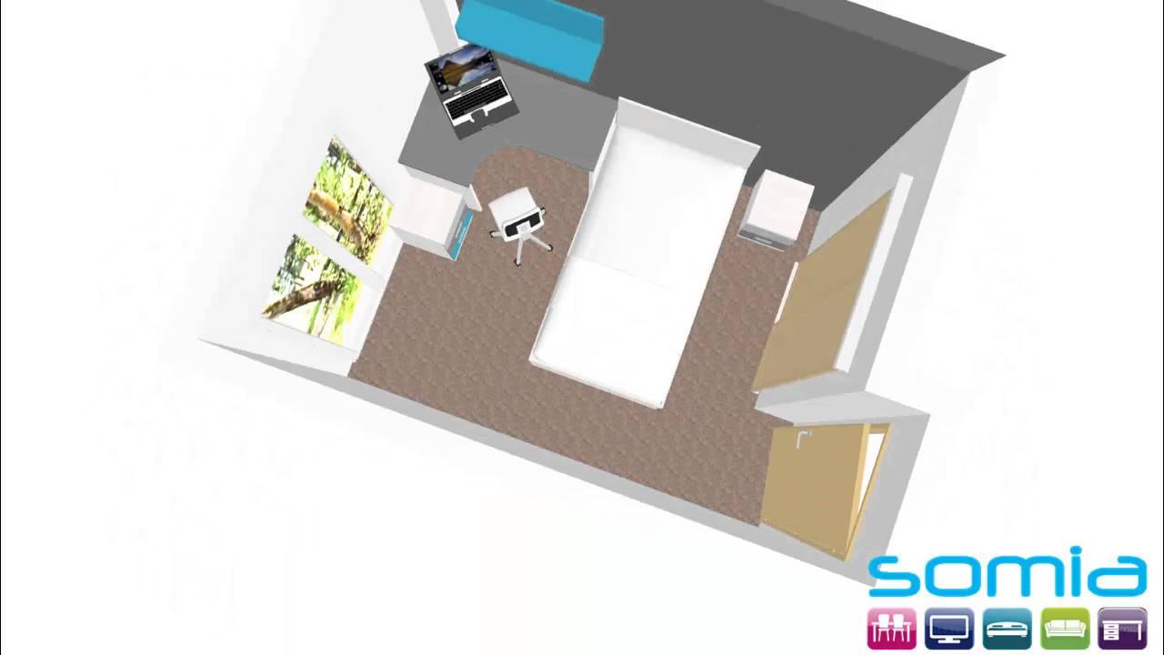 Diseño 3d Distribuir Mueble Habitacion Juvenil Combinado Gris Grafito Y Turquesa