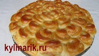 Мясной пирог ХРИЗАНТЕМА рецепт  из ЗАВАРНОГО дрожжевого теста! Пирог с мясом, рецепт от kylinarik.ru
