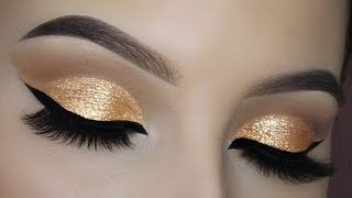 easy gold glitter cut crease tutorial
