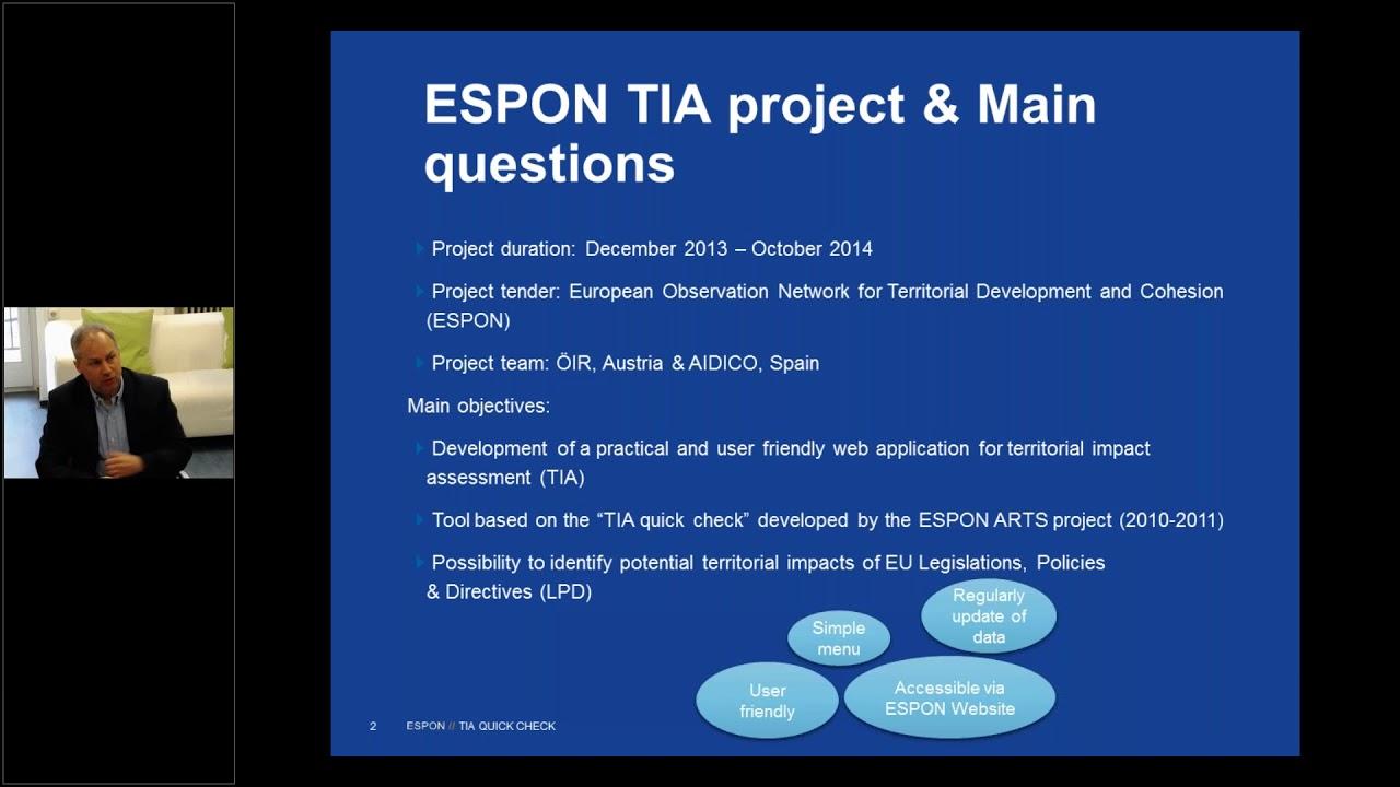 E learning on the ESPON TIA web tool 20/03