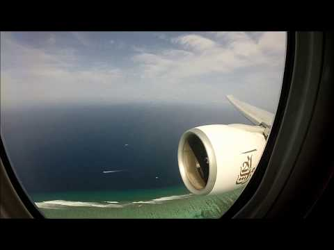 Emirates Airline B77W HEAVY Landing in Male MLE Maldives from Dubai DXB