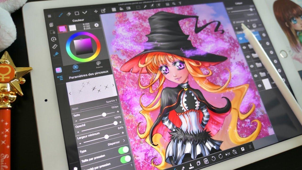 Dessin Sur Tablette Hana De Halloween Colorier Avec Moi Ipad Pro Apple Pencil Medibang Paint Manga Youtube