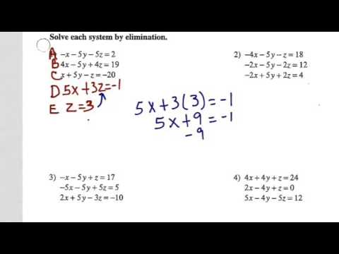 Solving Systems Of Equations W Elimination Youtube