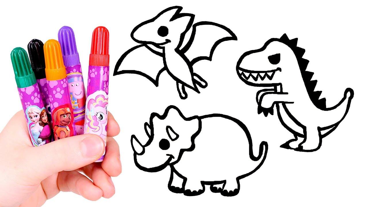 Dibuja Y Colorea 3 Dinosaurios Aprende Los Dinosaurios Para Ninos Youtube Miles de dibujos de dinosaurios para colorear y pintar gratis! dibuja y colorea 3 dinosaurios aprende los dinosaurios para ninos