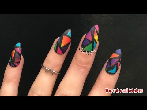 Easy Stained Glass Nails | Step By Step | Banggood Product Review