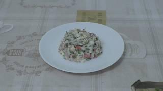 Салат с печенью трески и крабовыми палочками