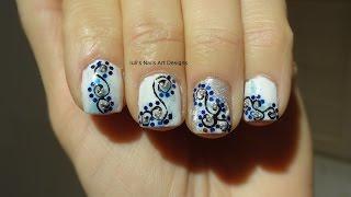 Nail Art Design Blue Glitter Arabesque Manicure White/blue/black Live Tutorial