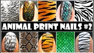 ANIMAL PRINT NAIL ART #2 | EASY NAIL DESIGN TUTORIALS FOR BEGINNERS AT HOME DIY TIGER ZEBRA FEATHER