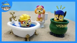 Paw Patrol The puppies entered the bathroom. Dog bathing mission.