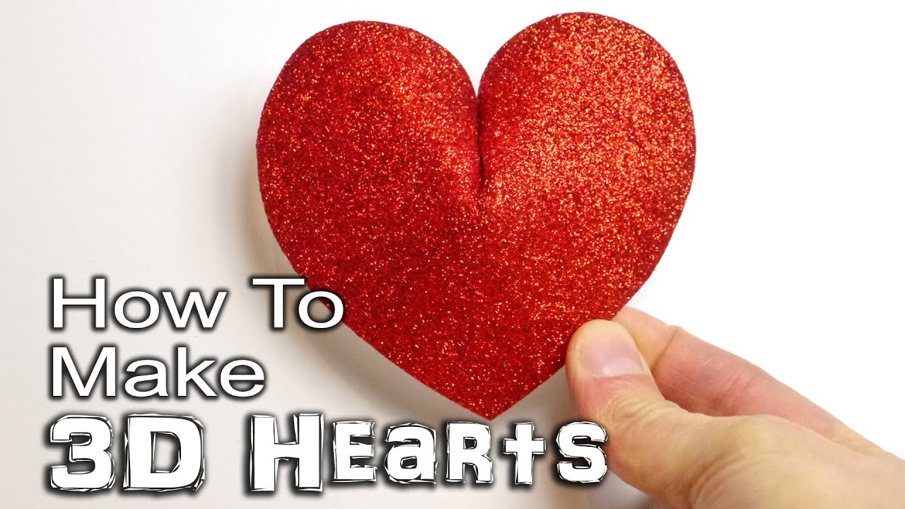 How to make a 3d heart paper card and foam youtube kristyandbryce Choice Image