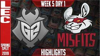 G2 vs MSF Highlights   LEC Spring 2019 Week 5 Day 1   G2 Esports vs Misfits