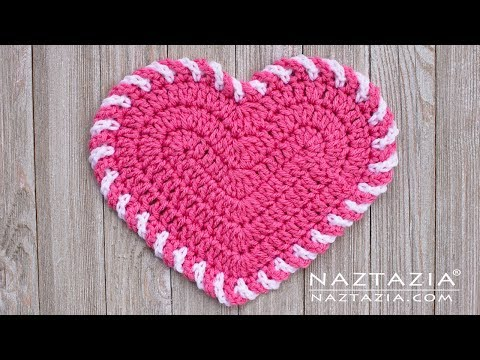 Learn How to Crochet Light Heart Dishcloth for Valentine's Day