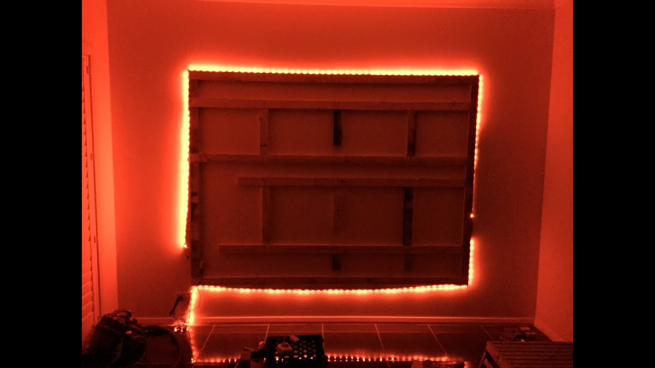 Wall Lights For Movie Room : DIY Floating Wall & Unit with LED Lighting for 70