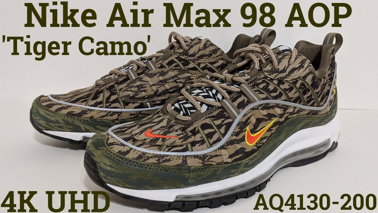 menor Andrew Halliday Contaminar  4K] Nike Air Max 98 AOP 'Tiger Camo' AQ4130-200 (2018) An Unboxing and  Detailed Look! Green Black - YouTube