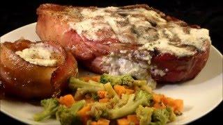 Gorgonzola Stuffed Rib Steaks Reversed Seared on the Green Mountain Grill