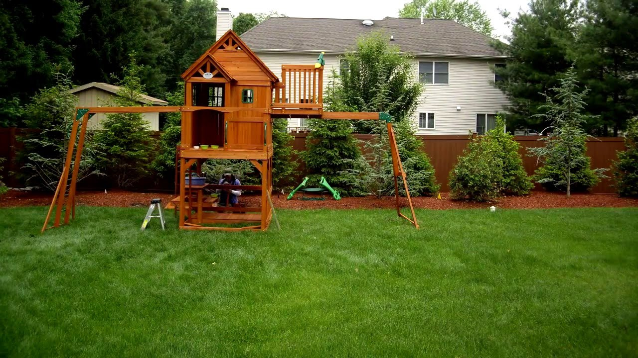 Installing A Skyfort Ii Swing Set Youtube