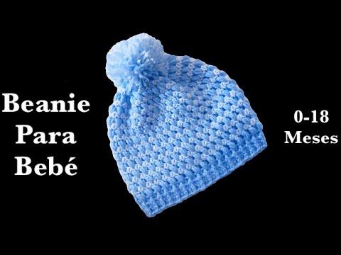 Gorrito beanie para bebe con punto frijol en gancho fácil y rápido- prematuro hasta 18 meses #147