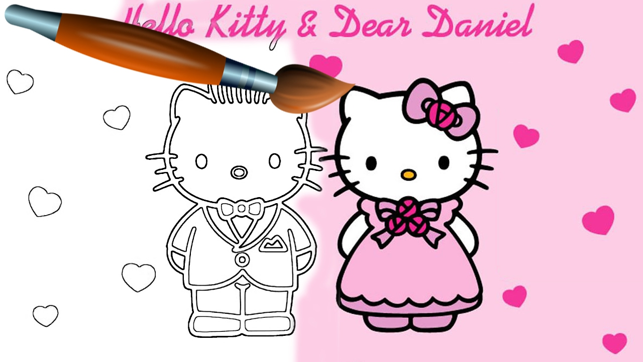 Hello kitty coloring book pages valentines day video for kids episode 31