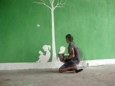 Como hacer un dibujo en la pared youtube - Posters gigantes para pared ...