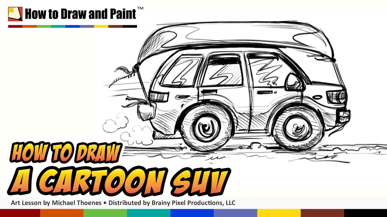 How to Draw a Cartoon Car SUV - Things to Draw When You\'re Bored ...