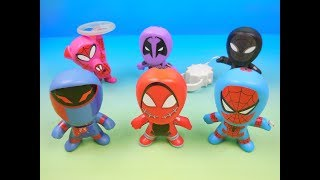 2018 SPIDER-MAN INTO THE SPIDER-VERSE SET OF 6 McDONALDS HAPPY MEAL KIDS MOVIE TOYS VIDEO REVIEW