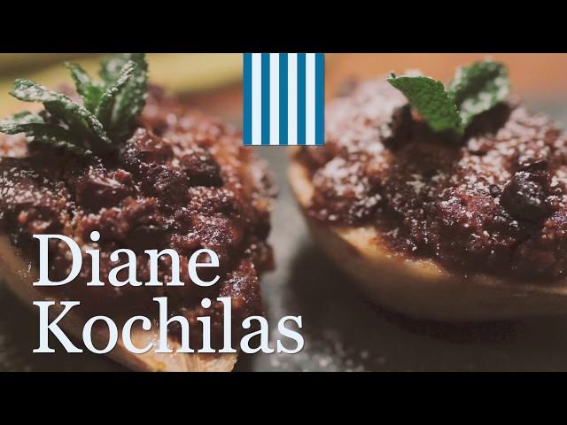 BAKED PEARS STUFFED WITH GREEK COOKIES & CHOCOLATE
