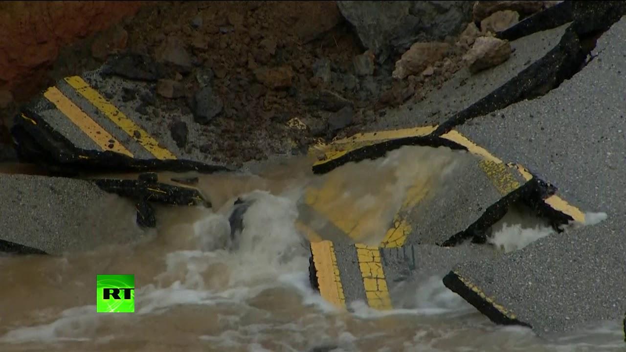 Texas road bridge collapses amid drenching rains from Hurricane Harvey