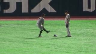 読売ジャイアンツ 長野久義選手が投げたボールがそれてしまい、2人で追...