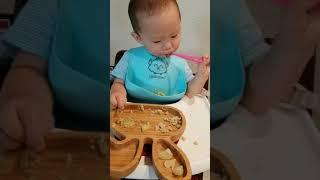 자기주도 이유식 먹방 (아보카도비빔밥&검은콩스프