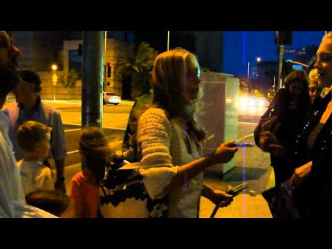 hope davis signing autographs fans after the final performance of god of carnage in los angeles