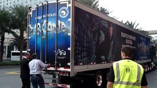 ZARKANA Cirque du Soleil Truck Unload at Aria Las Vegas 10-4-12