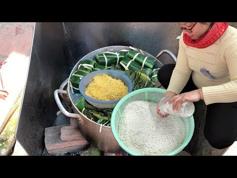 Vietnam street food - Traditional Square Cake Banh Chung for Lunar New Year in Vietnam