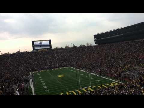 Jet pack fly over - Michigan stadium