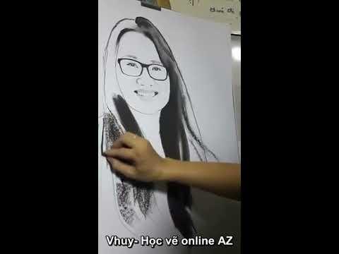 Học Vẽ Online AZ- vẽ chân dung cô gái đeo kính xinh đẹp