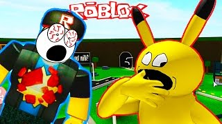 Running away from hungry PIKACHU Adventures cartoon hero ROBLOX videos for kids from Funny Games TV