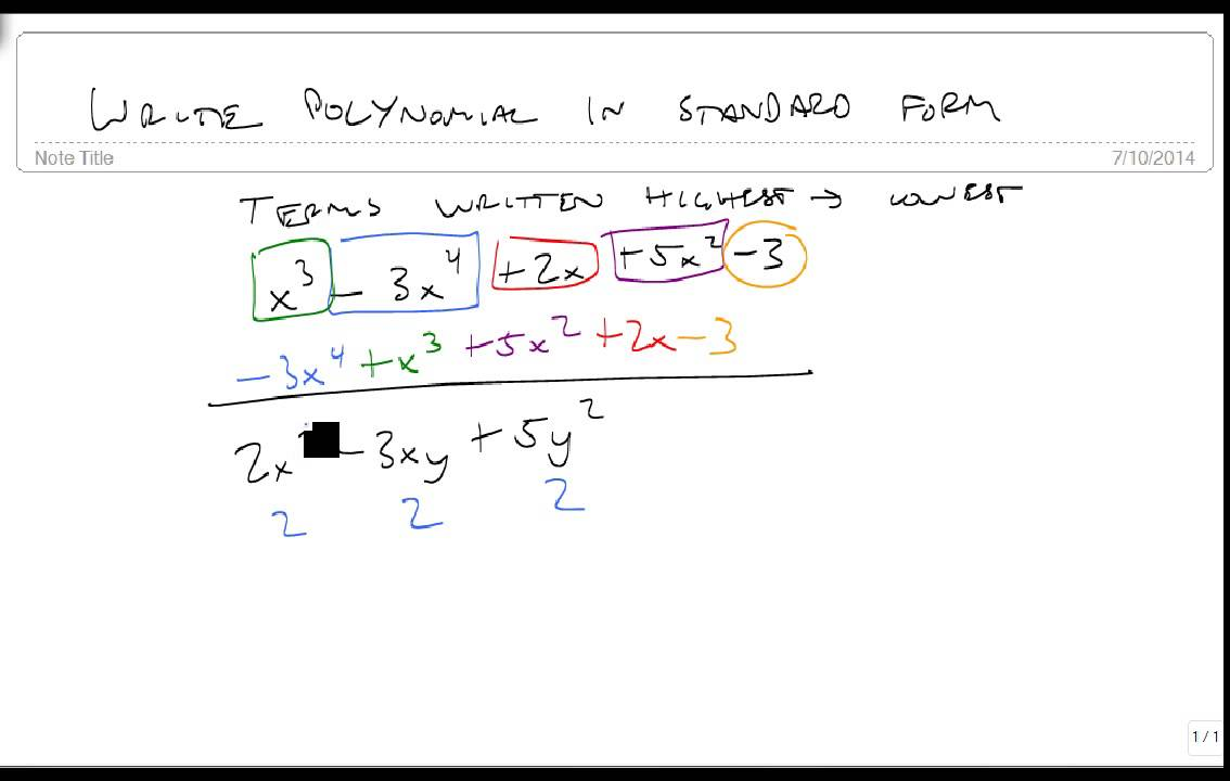 Write Polynomials In Standard Form Youtube