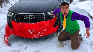 Red Man found Bumper from Corvette VS Mr. Joe Started Race on Audi Q3 in Car Service for Kids