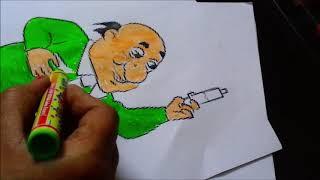 Çocuklar için Motu patlu ki jodi/ çizgi film karakteri/doktor jhatka/boyama sayfa