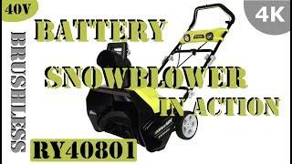 "Ryobi 40-Volt 20"" Brushless Cordless Snow Blower RY40801 - In Use!"
