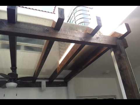 Pergola con techo de policarbonato celular instalaci n en for Pergola policarbonato