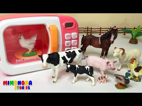Animales de la Granja 🐷🐮🐣 y Microondas para niños ✨ Videos Educativos - Mimonona Stories