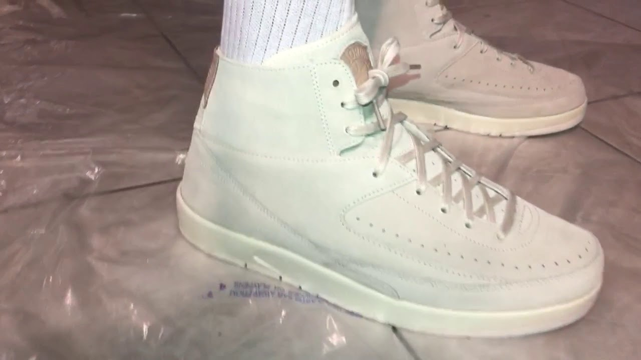 "57ecace27ae3 Air Jordan 2 DeCon Sail Suede Upper(On Feet)""Let Whole Vid   Ads Play  Plz"
